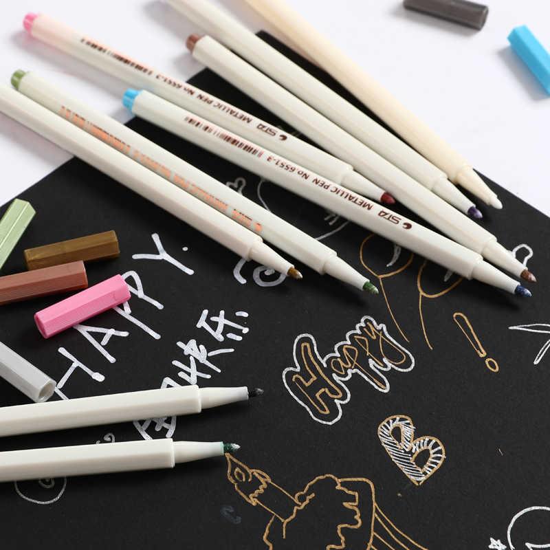 STA 10 couleurs métallique marqueur stylo ensemble Scrapbooking artisanat carte bricolage faisant brosse/tête ronde Art stylo pour dessiner