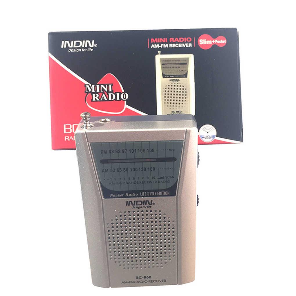 3,5mm Kopfhörer Jack Tragbare BC-R60 Tasche Radio Teleskop Antenne Mini AM/FM 2-Band Radio Welt Empfänger mit Lautsprecher