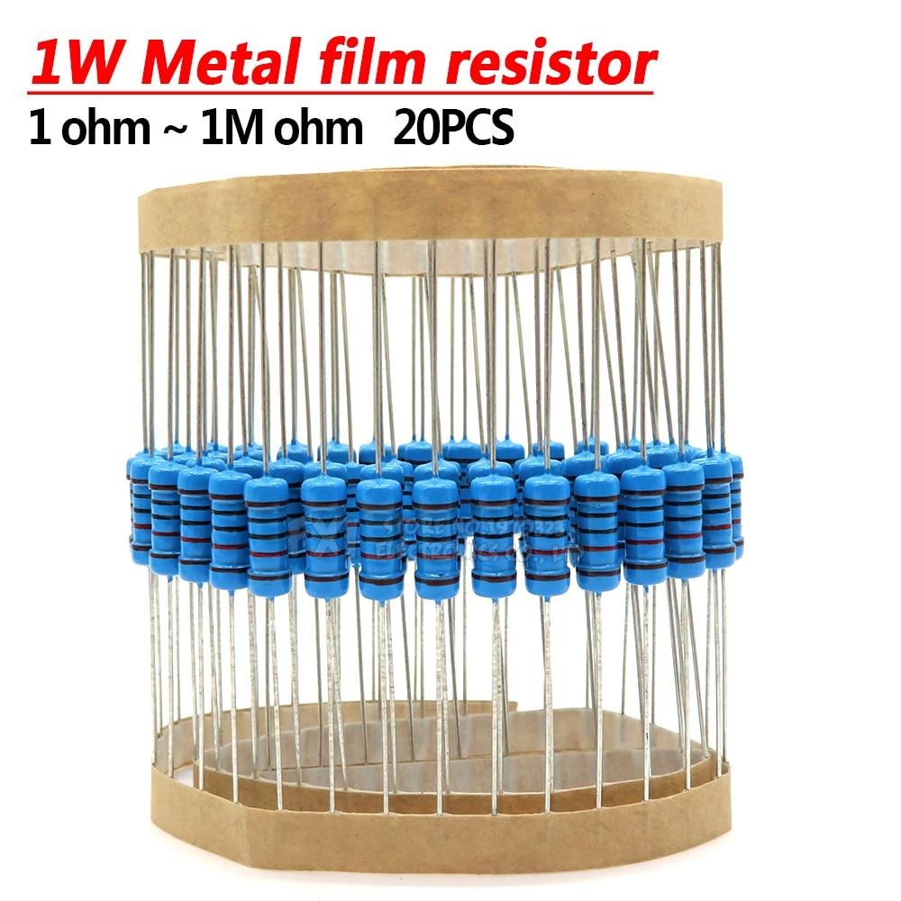 20pcs 1W Metal Film Resistor 1% 1R ~ 1M 1 2 10 22 47 100 330 Ohm 1K 4.7K 10K 22K 47K 100K 330K 470K 2R 10R 22R 47R 100R 330R