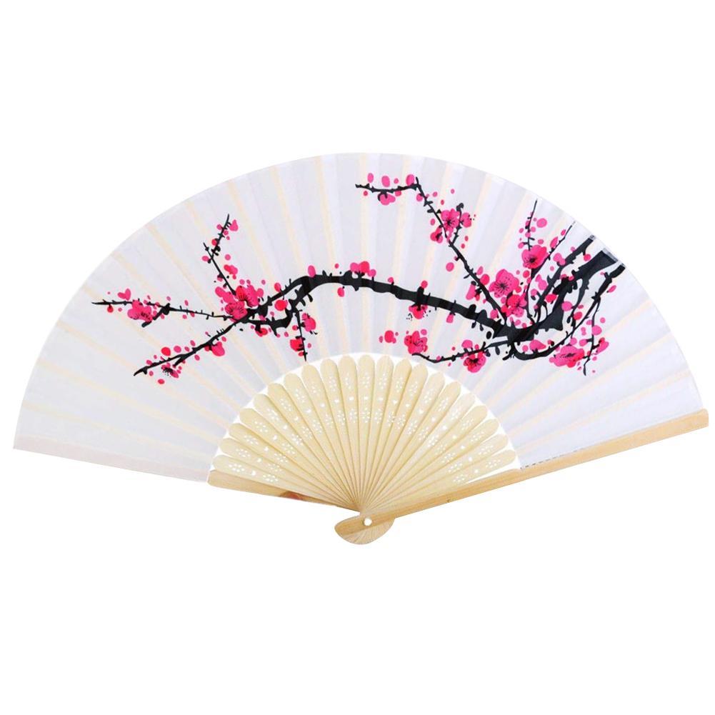 6 Inch Folding Foldable Plum Silk Wedding Gift Silk Bamboo Convenient Stylish Fan
