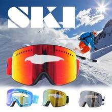 Двойной линзы лыжные очки УФ 400 Сноуборд катание на лыжах очки Мужчины Женщины Сноуборд очки двигателя большую маску слоя