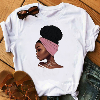 Melanin Poppin Shirt vogue t shirt women black African Curly Hair girl printed tshirt femme harajuku clothes female t-shirt tops - discount item  47% OFF Tops & Tees