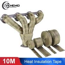 Vehemo 10 м титановая Тепловая выхлопная труба-нагреватель лента теплоизоляционная/Стойкая обёрточная бумага огнестойкая ткань рулон с 6 стальными стяжками Новинка