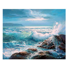 5D DIY diamond painting seascape landscape embroidery cross stitch mosaic full home decoration gift