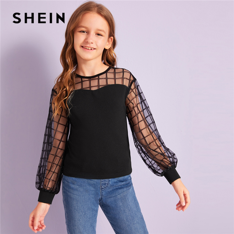 SHEIN Kiddie Black Grid Contrast Mesh Shoulder Casual Blouse Kids Tops 2019 Autumn Long Sleeve Button Back Blouses For Teenagers