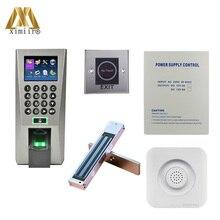 Биометрический контроль доступа отпечатков пальцев с блоком питания, кнопка выхода, EM замок, дверной звонок F18 система контроля доступа двери