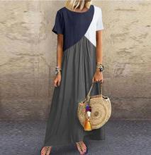 2019 vestidos largos de Mujer vestidos largos para mujer vestidos casual Vestido de playa Patchwork Color suelto Casual talla grande