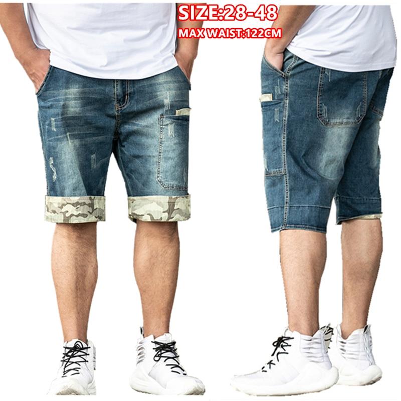 Shorts Jeans Men Summer Knee Length Hombre Denim Short Straight Male Cargo Stretched Mens Plus Size 42 44 46 48 Jean Short