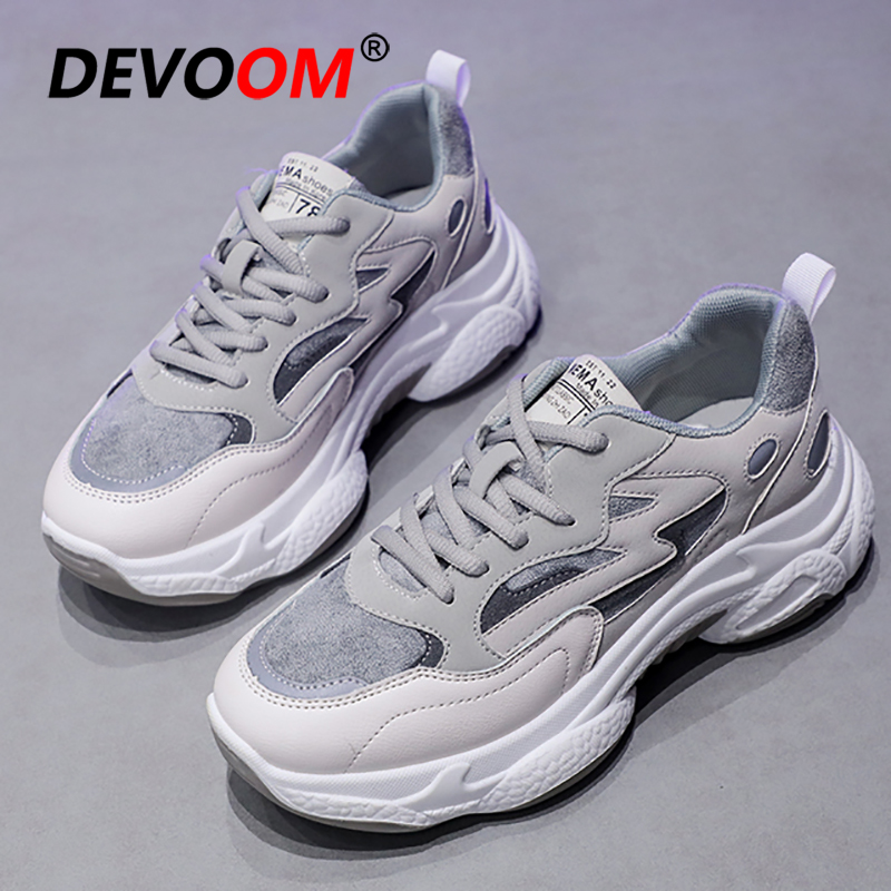 2020 Chunky Sneakers Women Spring Platform Casual Flat Shoes Women Ladies Shoes Designer Fashion Womens White Daddy Shoes EU 40