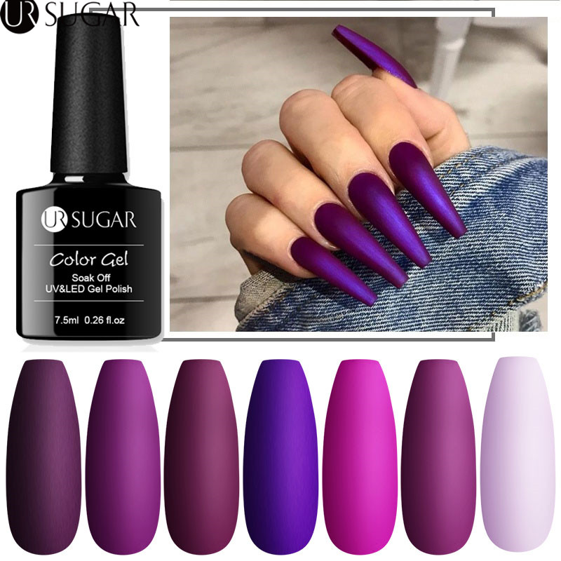 UR SUGAR 7.5ml Matte Nail Gel Polish Purple Series Hybrid Varnish Nail Art Semi Permanent UV Gel Varnish Soak Off Matte Top Coat