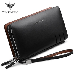 WILLIAMPOLO Fashion Business Design High Capacity Organizer Wallet Men Clutch Wallet Genuine Leather Wallet PL179