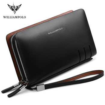 WILLIAMPOLO Fashion Business Design High Capacity Organizer Wallet Men Clutch Wallet Genuine Leather Wallet PL179 - DISCOUNT ITEM  42% OFF All Category