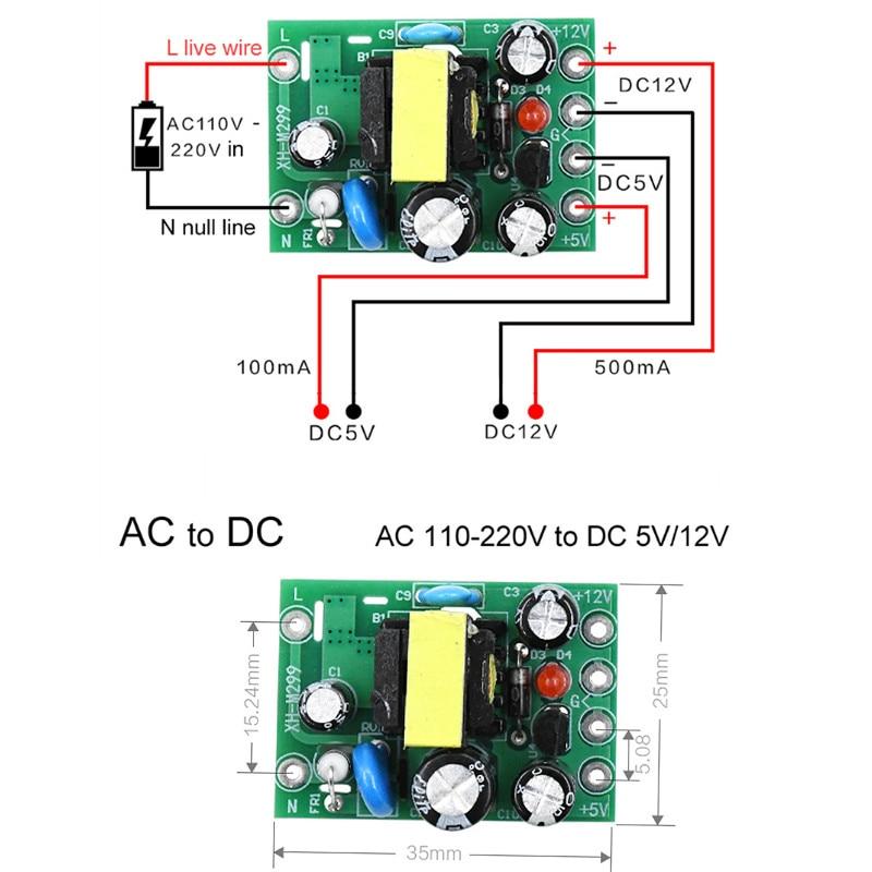 1pc Mini AC-DC Converter AC 110V 220V To DC 12V 0.2A+5V Module Board Wholesale