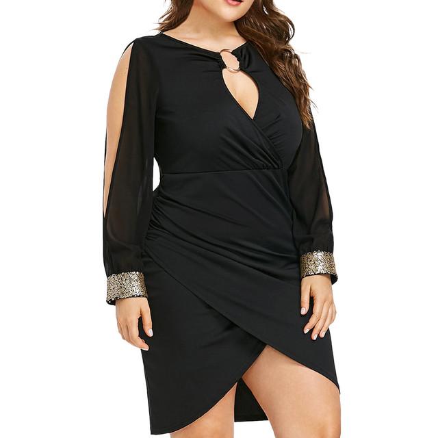 &35 2019 Women Fashion Long Sleeve Sequin Plus Size Keyhole Neck Ring Slit Bodycon Dress High Waist Lightweight Dress