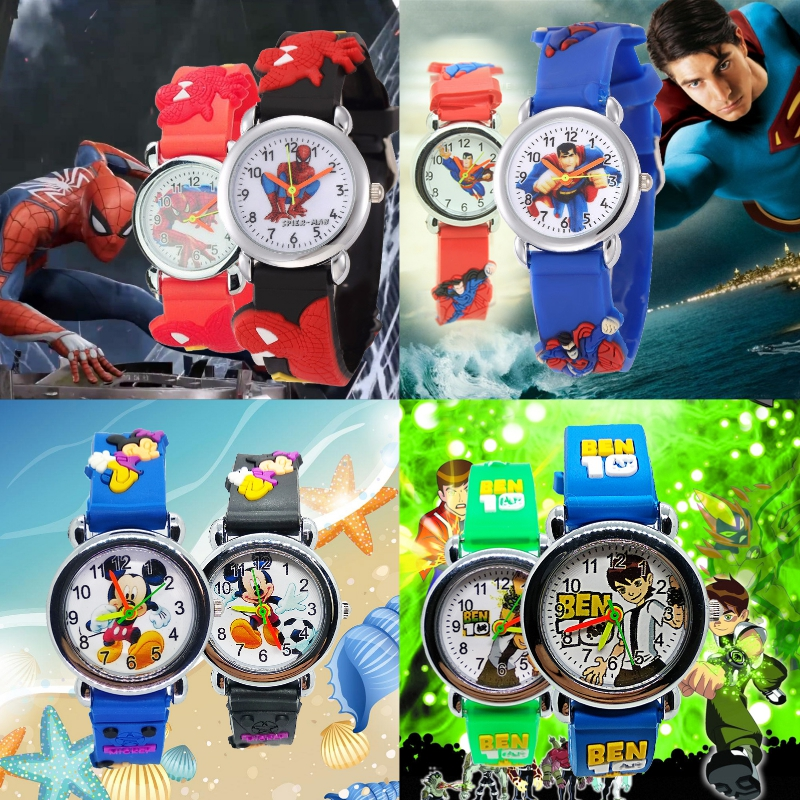 4 Designs Child Christmas Gift Spiderman Superman Mickey Girl Watch Children Fashion Boy Watches Kids Sports Baby Students Clock