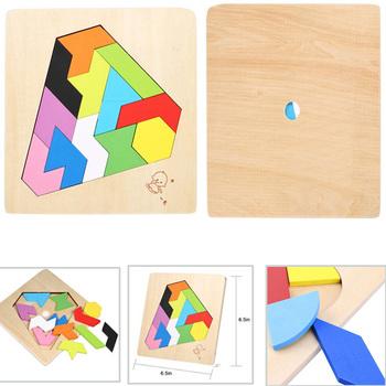 Drewniany tangram puzzle jigsaw kolorowy plac IQ gra łamigłówka inteligentne zabawki edukacyjne dla dzieci zabawki konstrukcyjne tanie i dobre opinie LAIMALA Unisex 3 lat Drewna Tangram układanki zarządu SD941334 piece 0 02kg (0 04lb ) 2cm x 2cm x 2cm (0 79in x 0 79in x 0 79in)