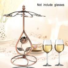 Hanging 6 Hooks Storage Organizer Wrought Iron Gifts Stemware Rack Kitchen Wine Glass Holder Display Stands Bar Tabletop Bronze