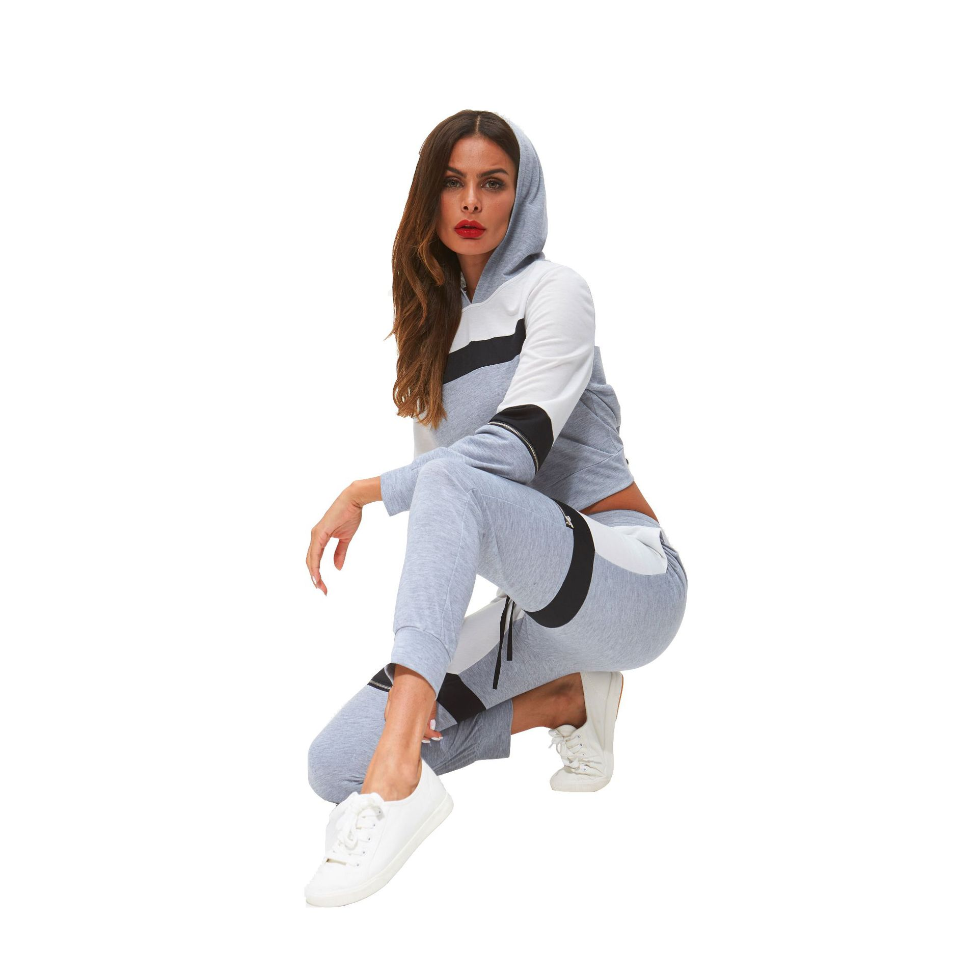 Supply Of Goods Autumn & Winter New Style Hooded Short Tops + Mixed Colors Trousers Two-Piece Casual WOMEN'S S
