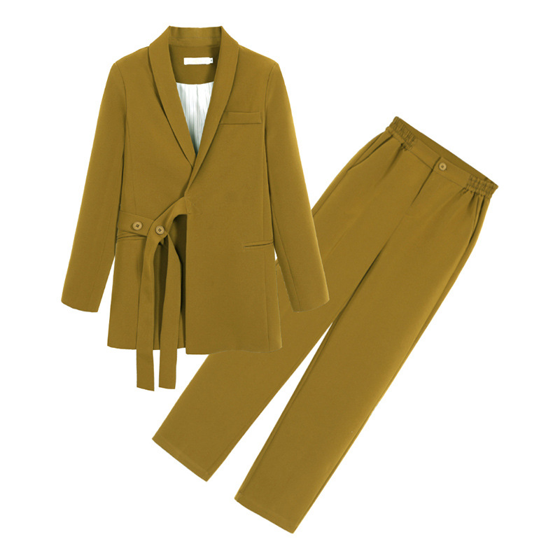 Casual Women's Pants Set Fashionable Plus Size Women's Blazer 2020 new loose mid-length women's jacket Fashion trousers M-5XL