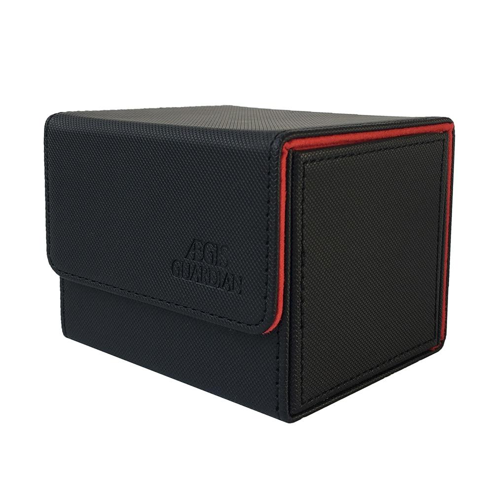 100 + чехол с боковой загрузкой карты AEGIS GUARDIAN, чехол для колоды Mtg Pokemon Yugioh, палубный ящик: черный + красный