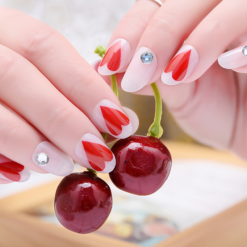 Red Rhinestone Red INS Wind Europe And America Bride Japanese Korean Wear Manicure Fake Nails Patch Was White Hand Manicure Stic