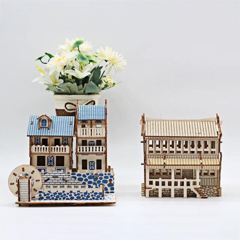 Cross-Border Intelligence Development 3D Puzzle Model Wooden Assembled Building Model Puzzle DIY Toy Children's Gift