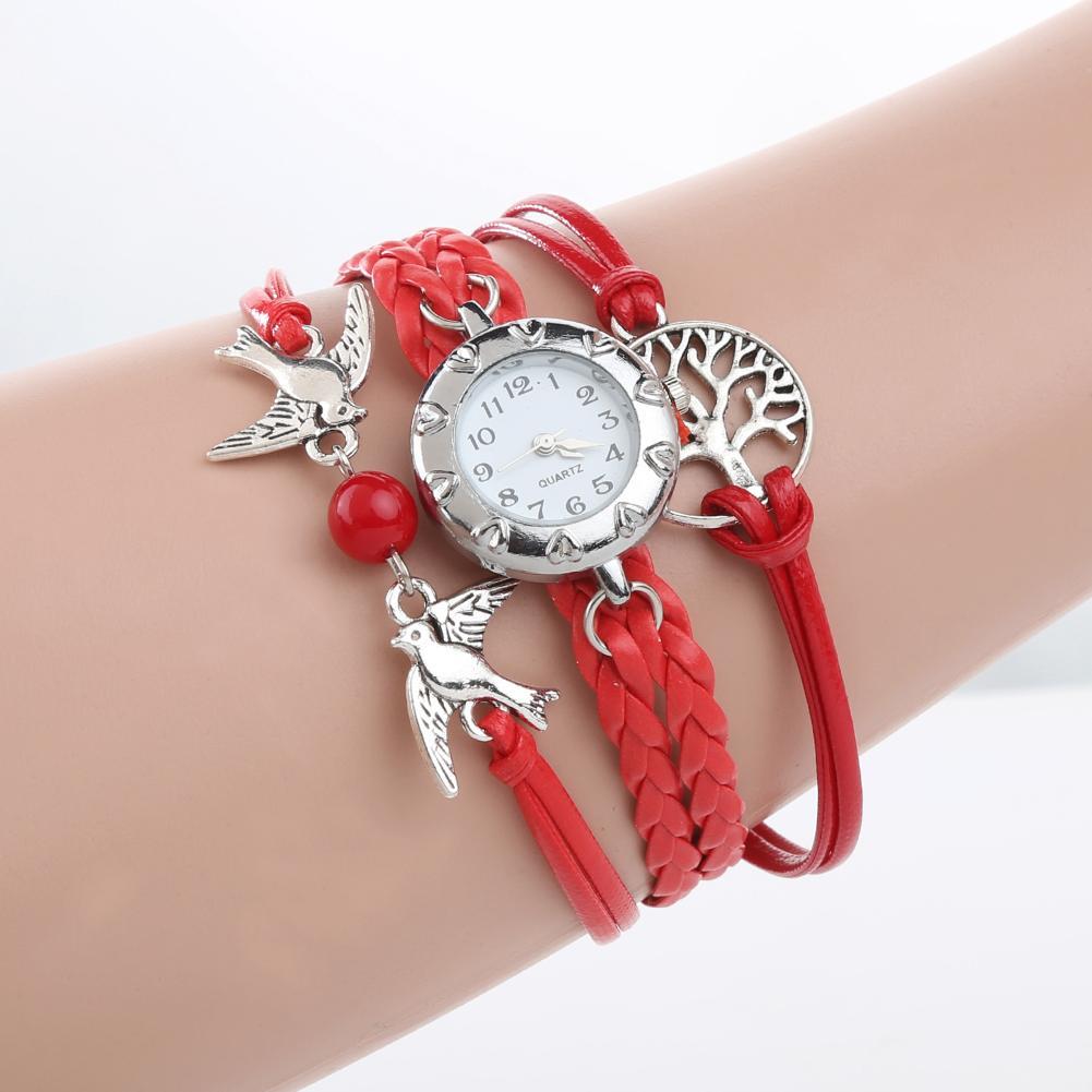 New Fashion Watch Women Quartz Watch Hollow Life Tree Birds Beads Charm Multilayer Retro Braided Bracelet Wrist Clock For Gifts