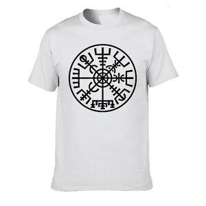 Летняя футболка из 100% хлопка футболка викинга исландского Vegvisir компаса Рунический амулет Повседневная футболка с коротким рукавом и вырезом лодочкой
