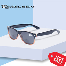 Bifocal Reading Glasses Grey Lens Fashion Men and Women Spring Hinge Plastic Presbyopia Glasses Outdoor fishing sunglasses
