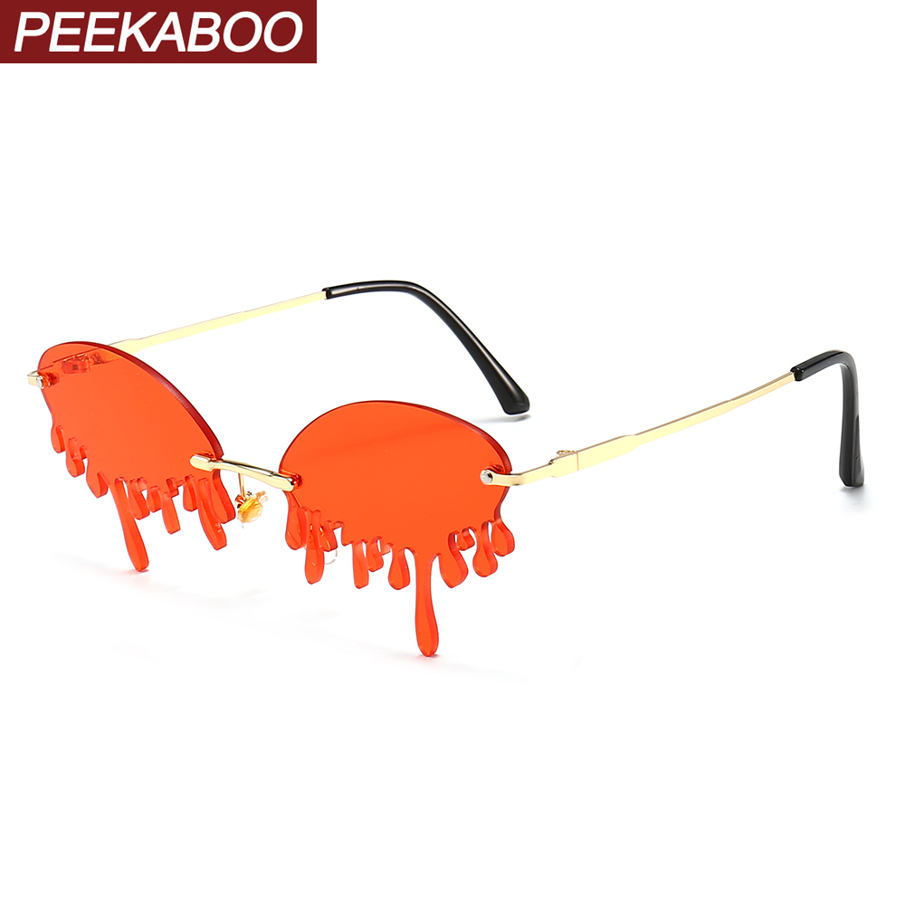 Peekaboo Fashion Vintage Sunglasses Funny Women Tear Shape Male Sun Glasses Party Beach 2020 Summer Metal Candy Color Red Yellow