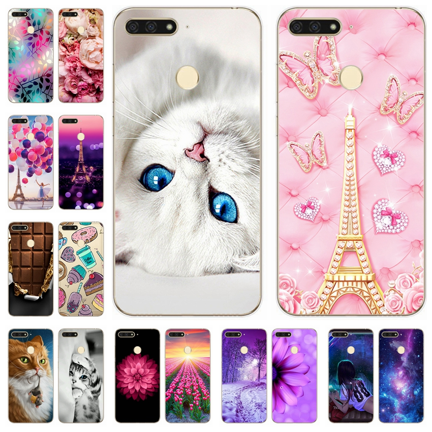 Silicone Cover Fundas Coque Animal-Cases Huawei Honor Luxury Cute for Printing 7C