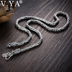 Image 2 - V.YA S925 Mens Chains 925 Sterling Silver Necklace Men Dragon Clasp Heavy Thick Chain Necklace Handmade Thai Silver Jewelry