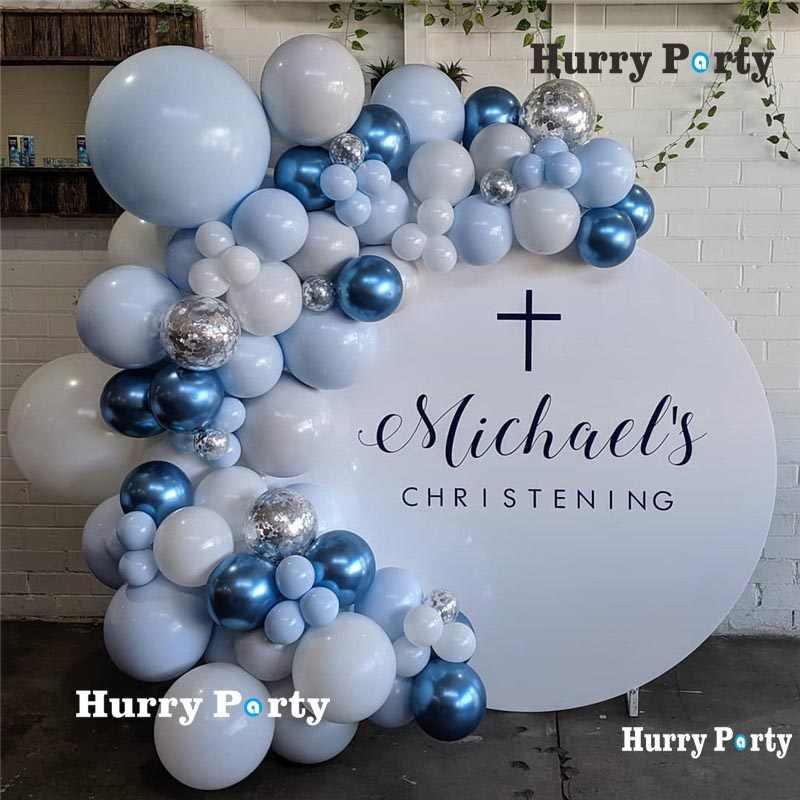 100 Pcs Pastel Macaron Biru Putih Balon Garland Arch Kit Biru Metalik Balon Pernikahan Ulang Tahun Baby Shower Pesta Dekorasi