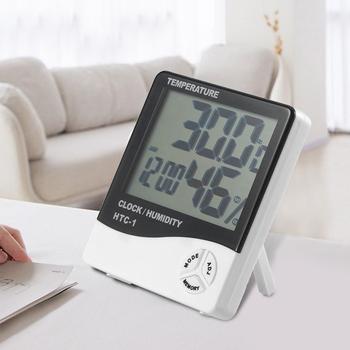 HTC-1 cyfrowy LCD kryty higrometr pokój termometr pulpit ścienny miernik temperatury i wilgotności z budzikiem tanie i dobre opinie alloet REGULATOR TEMPERATURY NONE CN (pochodzenie) LCD Digital Indoor Hygrometer Room Thermometer 50 ° C-69 ° C Bateria AAA