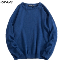ICPANS Pullover Knit Sweater 2019 Mens Hip Hop Embroidery Crewneck Knitwear Sweaters Streetwear Van Gogh Sleeve Solid Tops