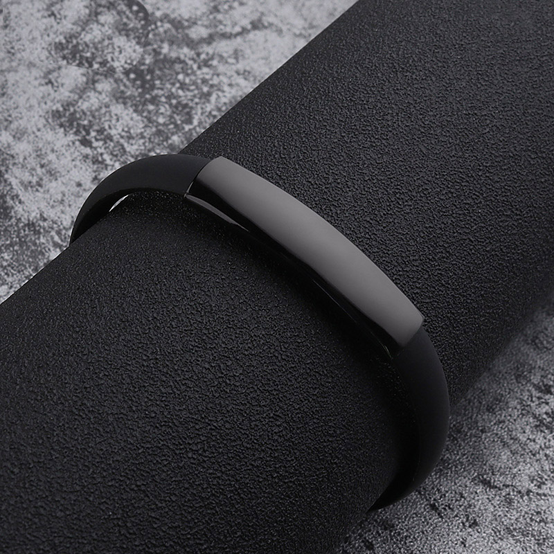 Fashion Jewelry Silicone Rubber Black Bar 220 Mm Stainless Steel Men Bracelet Bangle(China)