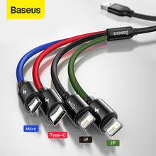 Baseus 4 in 1 USB Typ C Kabel für iPhone 11 Pro Max 3 in 1 USB Kabel USB C kabel für Samsung Xiaomi Hinweis 8 Pro Micro USB Kabel