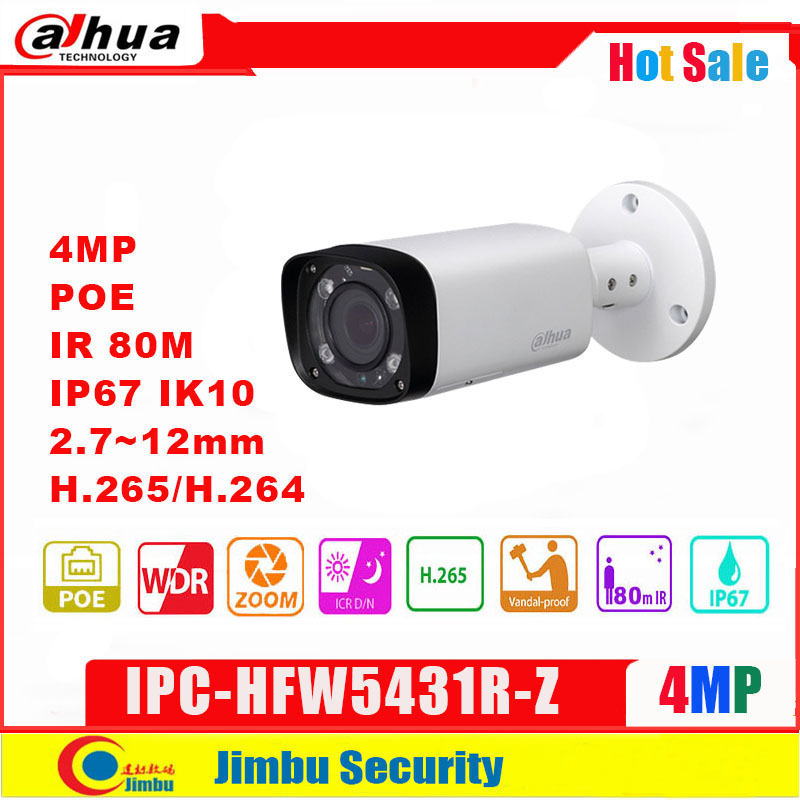 Dahua IP Camera 4MP POE IPC-HFW5431R-Z  2.8-12mm Varifocal Motorized Lens H.265 / H.264  IR 80M WDR  IVS  Multi Language CCTV