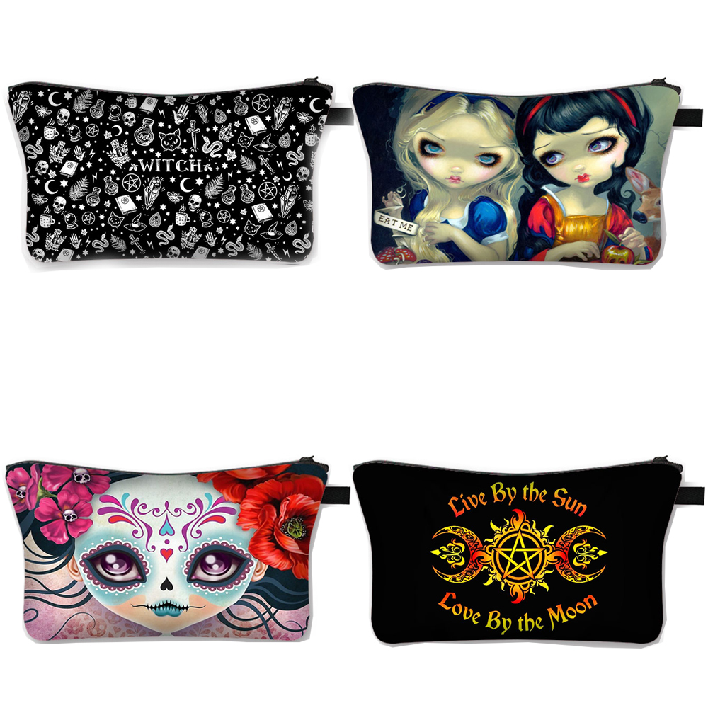 Gothic Girl / Witch / Wicca Cosmetic Case Women Makeup Bag Lady Large Capacity Cosmetic Bags for Travel Girls Make Up Organizer