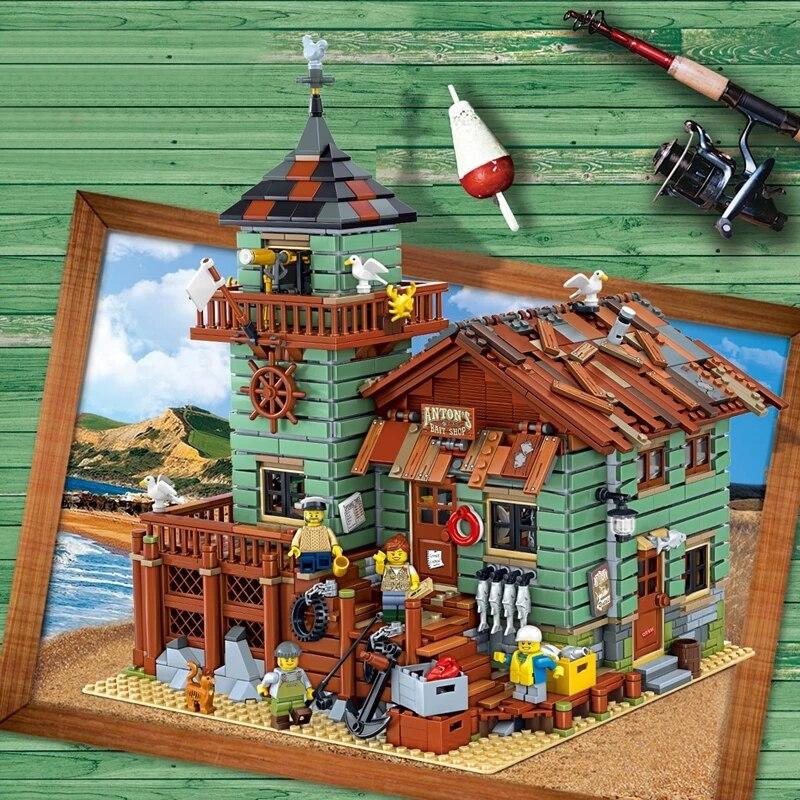 90001, старый Рыболовный магазин, 2068 шт., кирпичики город Creator Street View, модель MOC, строительные блоки, совместимые с 16050