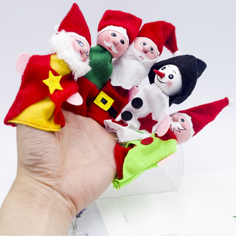 Christmas Decorations Finger Puppets Santa Snowflake Santa Claus Friends Finger Plush Toys Boys Girls Child Baby Favor Dolls in Pendant Drop Ornaments from Home Garden