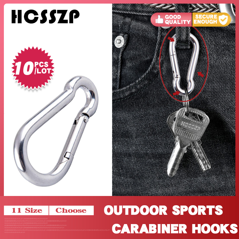10 Pcs Outdoor Sports 316 Stainless Steel Safety Buckle Keychain Climbing Button Carabiner Hook Camping Hiking-in Marine Hardware from Automobiles & Motorcycles