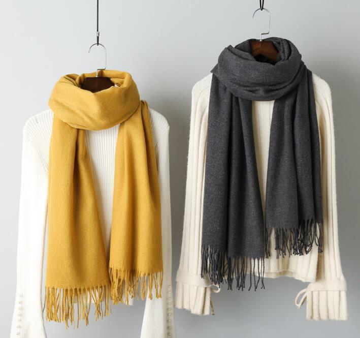 Новинка, мужской и женский Универсальный кашемировый шарф, вязаный длинный теплый и универсальный шарф с кисточками