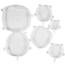 Stretch Lids,Silicone Stretch Covers, Reusable Seal Food Stretch Wrap 6 Pack of Various Sizes for Fruits & Vegetables or Cups, B