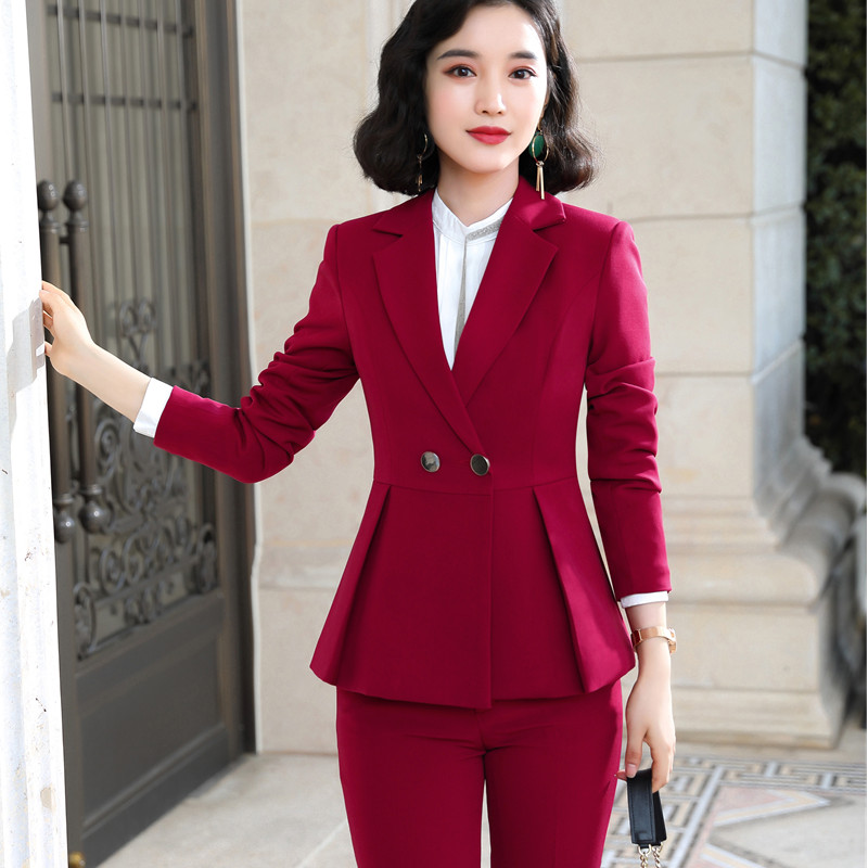 Naviu new arrival high quality women two pieces set pants suit for office lady formal workwear winter clothing 55