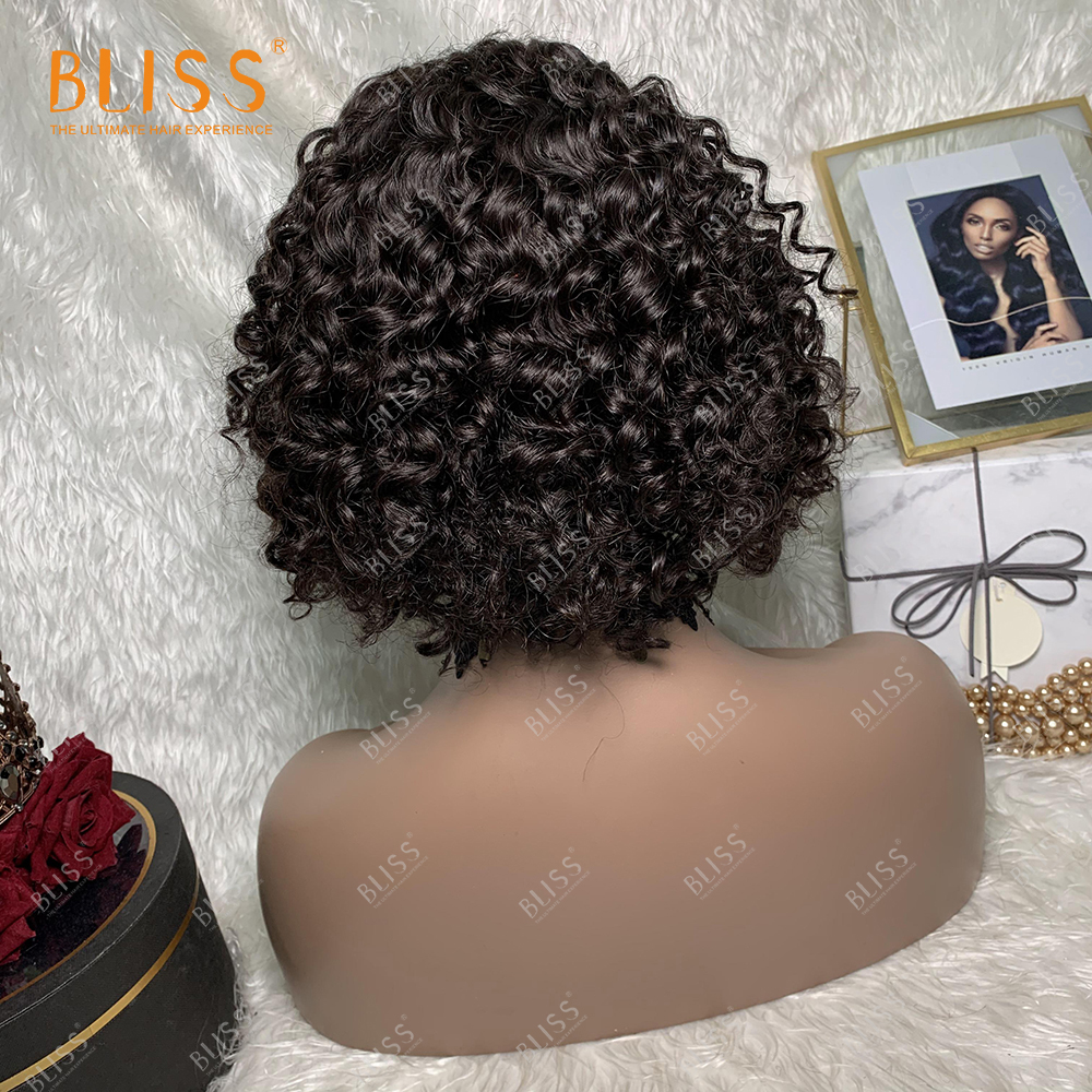 BLISS 4x4 Lace Closure Wigs Deep Wave 130% Deep Curly Perruques Naturelles Courtes Wigs for Black Women 12 inches
