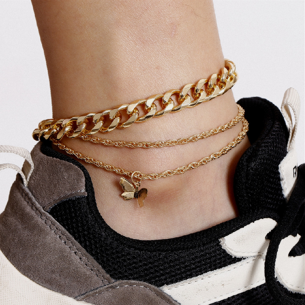 3Pcs/Set Personality Gold Cuban Anklet Fine Butterfly Anklet Set for Women Summer Foot Chain Jewelry Birthday Gifts