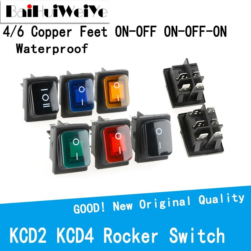 KCD4 KCD2 Waterproof Rocker Switch 4PIN 6PIN ON-OFF ON-OFFON LED Light Rocker Switch 20A Auto Boat Marine Toggle Rocker Switch