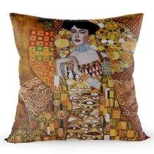 Gold Gustav Klimt Adele Bloch-Bauers Pillowcase Bedroom Home Christmas Decorative Cover Silk Soft Fabric Pillow