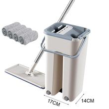 Ściśnij magiczne czyszczenie mopy i wiadro unikaj mycia rąk ściereczka czyszcząca z mikrofibry podłoga w kuchni czyste narzędzia tanie tanio Tkanina z mikrofibry 10 sekund Typu Hook Loop Kosz z tworzywa sztucznego + plastikowe pedały Z 1 mophead 90 -100